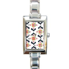 Flower Rose Floral Purple Pink Green Leaf Rectangle Italian Charm Watch