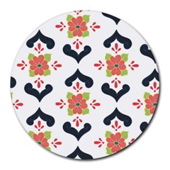 Flower Rose Floral Purple Pink Green Leaf Round Mousepads