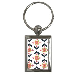 Flower Rose Floral Purple Pink Green Leaf Key Chains (Rectangle)