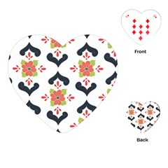Flower Rose Floral Purple Pink Green Leaf Playing Cards (Heart)