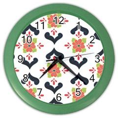 Flower Rose Floral Purple Pink Green Leaf Color Wall Clocks