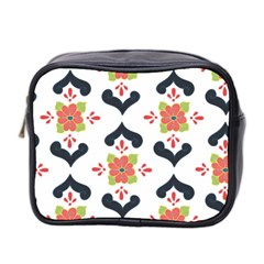Flower Rose Floral Purple Pink Green Leaf Mini Toiletries Bag 2-Side