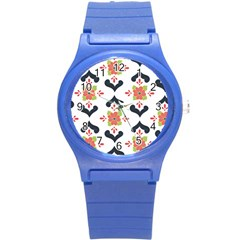 Flower Rose Floral Purple Pink Green Leaf Round Plastic Sport Watch (S)