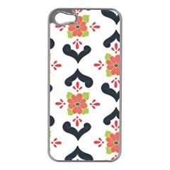 Flower Rose Floral Purple Pink Green Leaf Apple iPhone 5 Case (Silver)