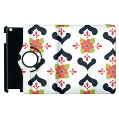 Flower Rose Floral Purple Pink Green Leaf Apple iPad 3/4 Flip 360 Case