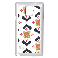 Flower Rose Floral Purple Pink Green Leaf Samsung Galaxy Note 4 Case (White)