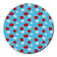 Fruit Red Apple Flower Floral Blue Round Mousepads