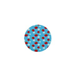 Fruit Red Apple Flower Floral Blue 1  Mini Magnets