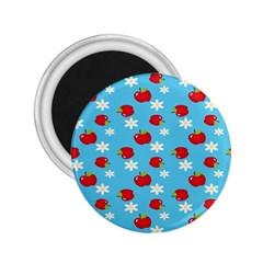 Fruit Red Apple Flower Floral Blue 2 25  Magnets