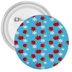 Fruit Red Apple Flower Floral Blue 3  Buttons