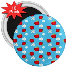 Fruit Red Apple Flower Floral Blue 3  Magnets (10 pack)