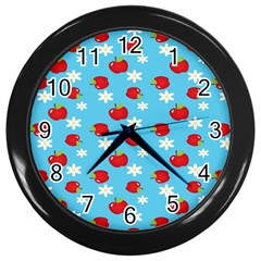 Fruit Red Apple Flower Floral Blue Wall Clocks (Black)