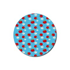 Fruit Red Apple Flower Floral Blue Rubber Round Coaster (4 pack)