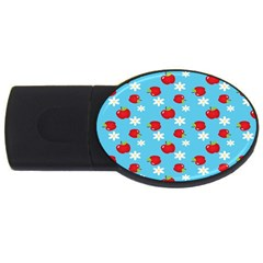 Fruit Red Apple Flower Floral Blue USB Flash Drive Oval (2 GB)