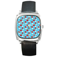 Fruit Red Apple Flower Floral Blue Square Metal Watch