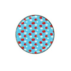 Fruit Red Apple Flower Floral Blue Hat Clip Ball Marker