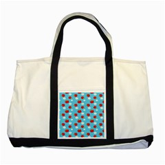 Fruit Red Apple Flower Floral Blue Two Tone Tote Bag