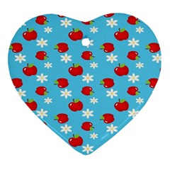 Fruit Red Apple Flower Floral Blue Heart Ornament (Two Sides)