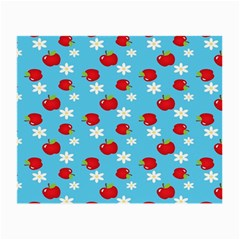 Fruit Red Apple Flower Floral Blue Small Glasses Cloth (2-Side)