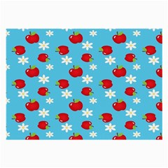 Fruit Red Apple Flower Floral Blue Large Glasses Cloth
