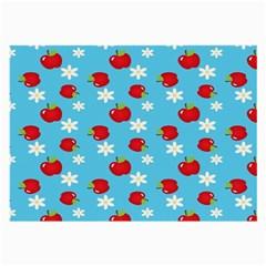 Fruit Red Apple Flower Floral Blue Large Glasses Cloth (2-Side)