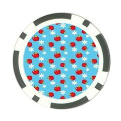 Fruit Red Apple Flower Floral Blue Poker Chip Card Guard