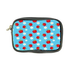 Fruit Red Apple Flower Floral Blue Coin Purse