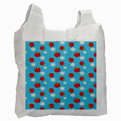 Fruit Red Apple Flower Floral Blue Recycle Bag (One Side)