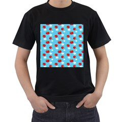 Fruit Red Apple Flower Floral Blue Men s T-Shirt (Black)