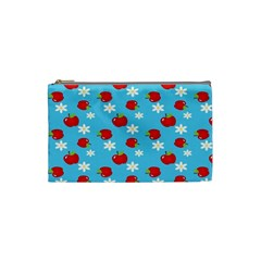 Fruit Red Apple Flower Floral Blue Cosmetic Bag (Small)