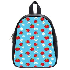 Fruit Red Apple Flower Floral Blue School Bags (Small)
