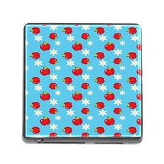 Fruit Red Apple Flower Floral Blue Memory Card Reader (Square)