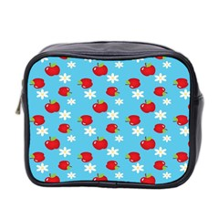 Fruit Red Apple Flower Floral Blue Mini Toiletries Bag 2-Side