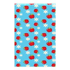 Fruit Red Apple Flower Floral Blue Shower Curtain 48  x 72  (Small)