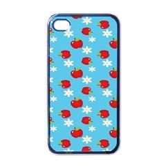 Fruit Red Apple Flower Floral Blue Apple iPhone 4 Case (Black)