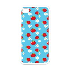 Fruit Red Apple Flower Floral Blue Apple iPhone 4 Case (White)