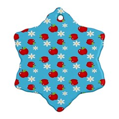 Fruit Red Apple Flower Floral Blue Ornament (snowflake)