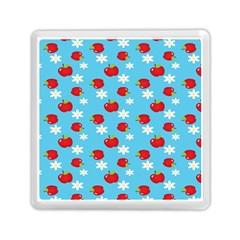 Fruit Red Apple Flower Floral Blue Memory Card Reader (Square)