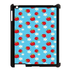 Fruit Red Apple Flower Floral Blue Apple iPad 3/4 Case (Black)