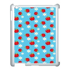 Fruit Red Apple Flower Floral Blue Apple iPad 3/4 Case (White)