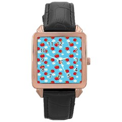Fruit Red Apple Flower Floral Blue Rose Gold Leather Watch