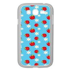 Fruit Red Apple Flower Floral Blue Samsung Galaxy Grand DUOS I9082 Case (White)
