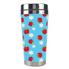Fruit Red Apple Flower Floral Blue Stainless Steel Travel Tumblers