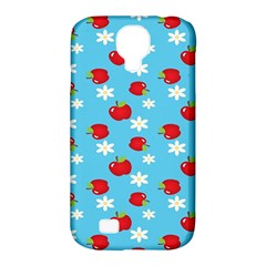 Fruit Red Apple Flower Floral Blue Samsung Galaxy S4 Classic Hardshell Case (PC+Silicone)