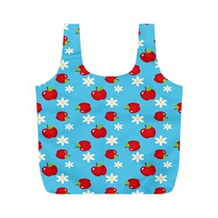 Fruit Red Apple Flower Floral Blue Full Print Recycle Bags (M)
