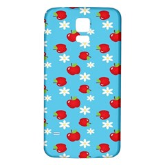 Fruit Red Apple Flower Floral Blue Samsung Galaxy S5 Back Case (White)