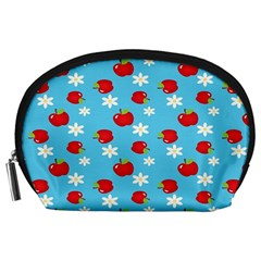 Fruit Red Apple Flower Floral Blue Accessory Pouches (Large)