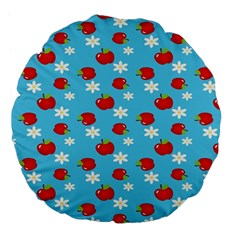 Fruit Red Apple Flower Floral Blue Large 18  Premium Flano Round Cushions