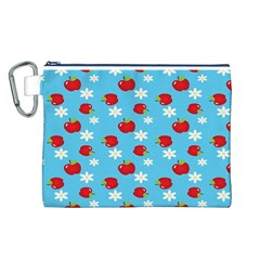 Fruit Red Apple Flower Floral Blue Canvas Cosmetic Bag (L)