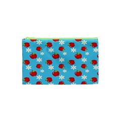 Fruit Red Apple Flower Floral Blue Cosmetic Bag (XS)